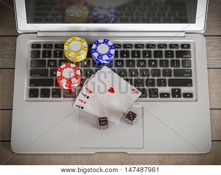 laptop with chips dices and poker cards on the table 3d illustration