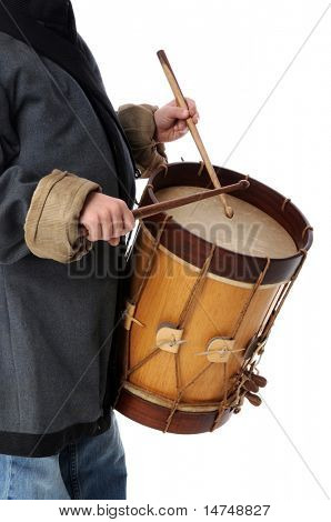 Drummer boy playing isolated over a white background