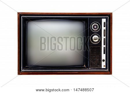 Old television isolated on a white background.