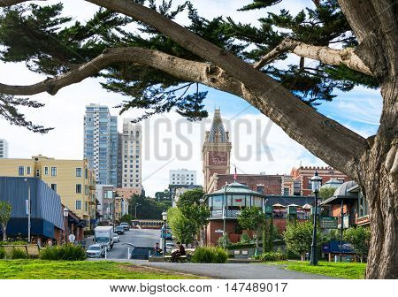 San Francisco USA - September 24 2015: View of the city from the Maritime Nacional Historical Park area