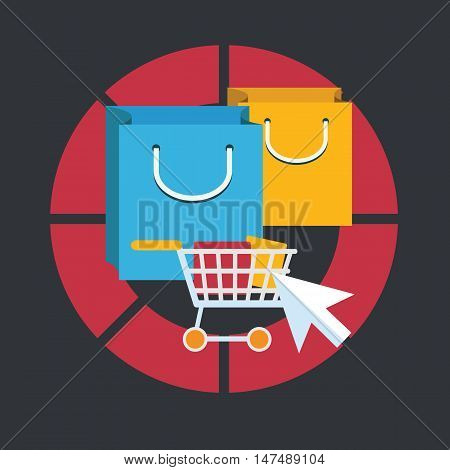 Flat design modern vector illustration concept of pay per click internet shopping. Isolated on stylish background.