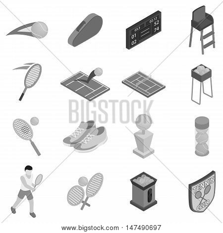 Tennis icons set in black monochrome style. Tennis sport elements set collection vector illustration