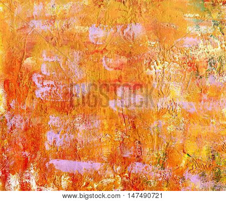 An old paper texture with brush strokes: a canvas with golden and purple paint marks. A mixed media abstract painting. A frame with copyspace for design