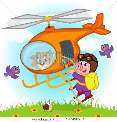 pig parachutist on helicopter - vector illustration, eps