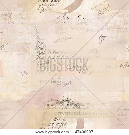 Vintage style seamless pattern with fragments of letters and old paper textures. Visible text includes 'written correspondence' in French and 'ticket number' in Spanish. Toned background
