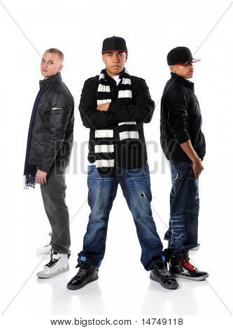 Three hip hop men posing isolated over a white background