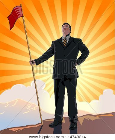 Businessman standing on top of mountain holding flag - VECTOR