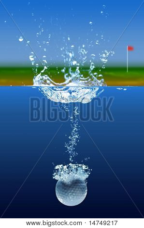 Golf ball splashing into water with green in background