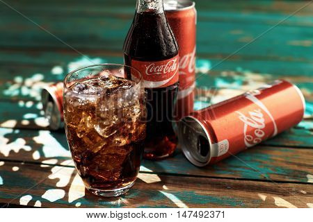 MINSK, BELARUS-AUGUST 25, 2016. Coca-Cola is a carbonated soft drink popular all over the world. She is sold in restaurants stores everywhere.
