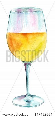 A glass of white wine, hand painted in watercolors, on white background. A decoration for a restaurant wine list, or a design element for a party invitation