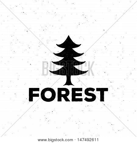 Logo Or Emblem Of A Black Fir-tree, Grung Style, With Attritions  Vector Illustration