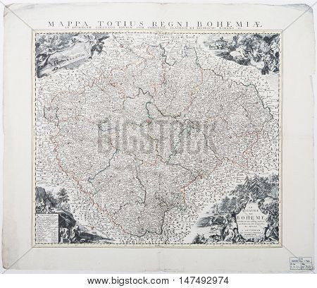 PRAGUE, CZE - SEPTEMBER 16, 2016: Map of Moravia from the year 1744 according to Mullert