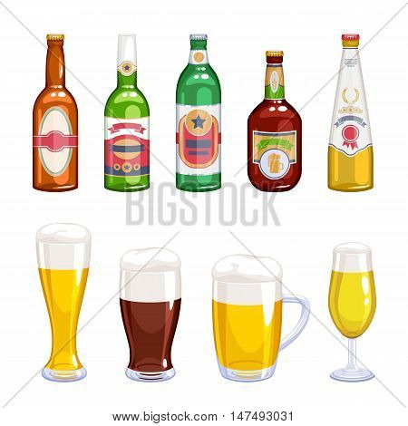 Beer bottles and mugs icons set. Alcohol vector illustration. Lager wheat ale beer varieties.