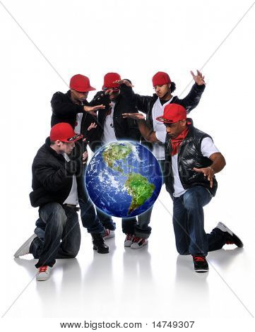 Hip Hop Men with earth suspended over a white background