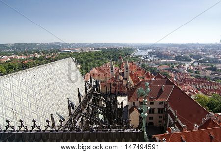 View of Prague from cathedral Saint Vitus