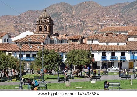 CUSCO PERU - September 01 2016: View of Plaza De Armas of Cusco Peru on September 01 2016. In 1983 Cusco was declared a World Heritage Site by UNESCO.