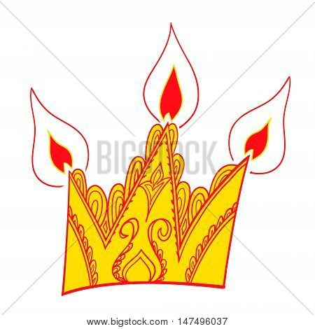 Crown vector. Colored vector illustration. Art illustration. Unny cute colored vector illustration