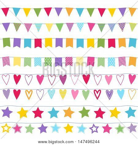Garlands seamless horizontal borders set. Party new year christmas birthday decorations. Garlands design with flags stars and hearts.