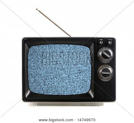 Vintage television with snow bands and patterns isolate over white