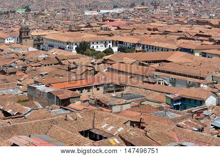 View of Cusco Peru. In 1983 Cusco was declared a World Heritage Site by UNESCO.