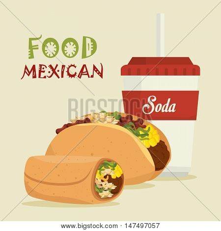 cartoon food mexican taco burrito design isolated vector illustration eps 10