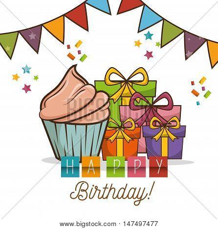 cupcake sweet happy birthday desing isolated vector illustration eps 10