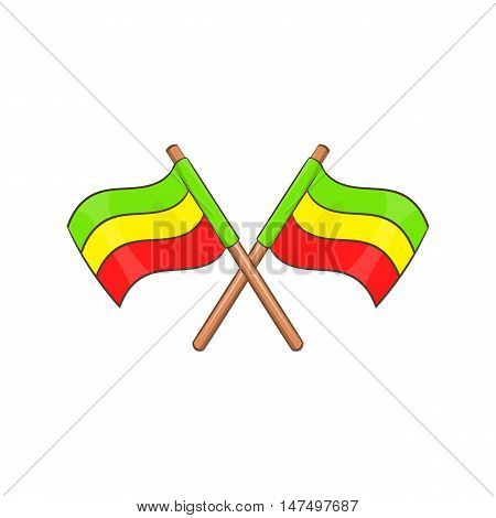 Rastafarian crossed flags icon in cartoon style isolated on white background vector illustration