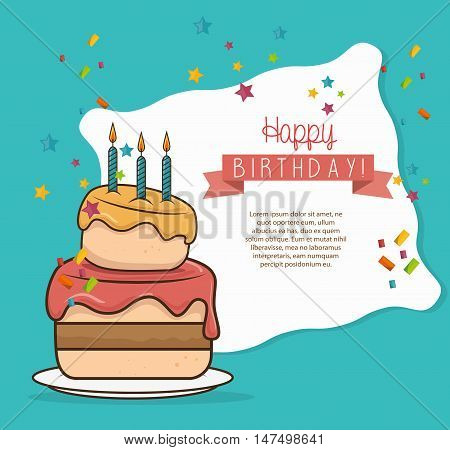 cake three candle sweet happy birthday desing isolated vector illustration eps 10