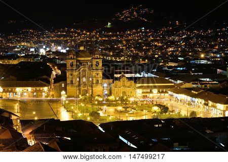 CUSCO PERU - August 31 2016: Night view of Plaza De Armas of Cusco Peru on August 31 2016. In 1983 Cusco was declared a World Heritage Site by UNESCO.