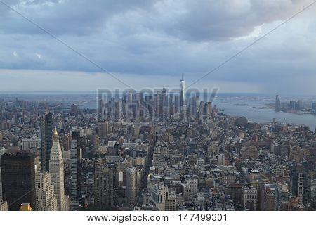 New York City, Usa - Aug 15, 2016: Lower Manhattan View With One World Trade Center From The Empire