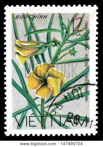 VIETNAM - CIRCA 1977 : Cancelled postage stamp printed by Vietnam, that shows Thevetia peruviana.