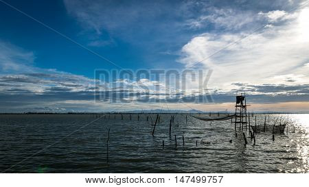 Traditional fishermen wooden houses in Songkhla Lake Thailand