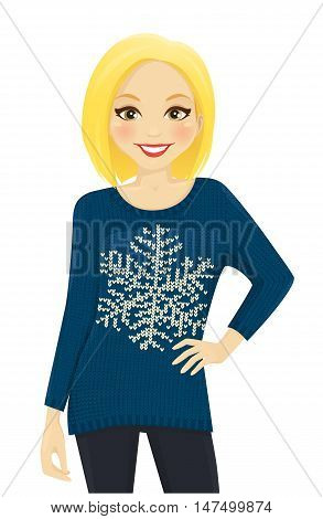 Woman in blue holiday sweater with snowflake