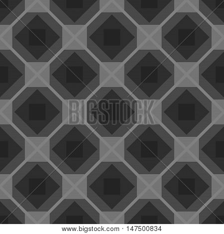 Seamless checkered black and white tablecloth vector background with rhombus monochrome pattern, repeated backdrop with abstract geometric rhomb ornament for fabric design