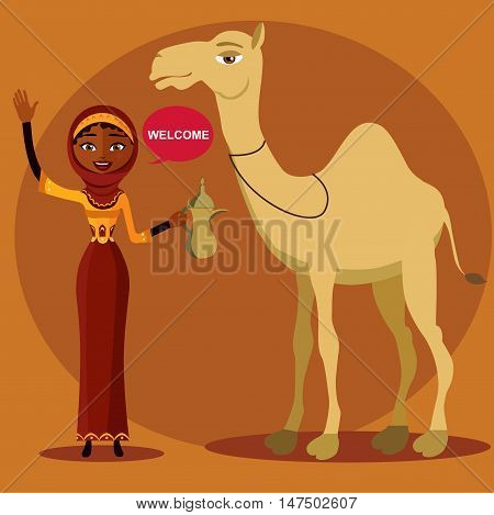 Color vector of a bedouin woman walking, leading a camel. Cheerful young lady waving her hand.a young arab woman holding an arabic coffee pot.