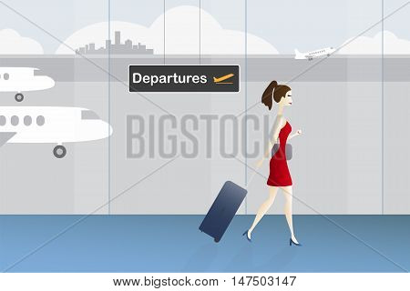 Woman with luggage walking to departures direction at the airport