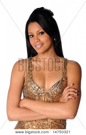 Beautiful African American woman with arms crossed smiling