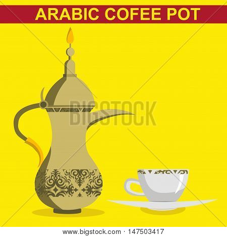 gold pot of coffee with gold cups of coffee  flat cartoon vector illustration. Eps10. Isolated on a white background.