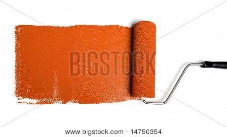 Paint roller leaving stroke of orange paint over a white background