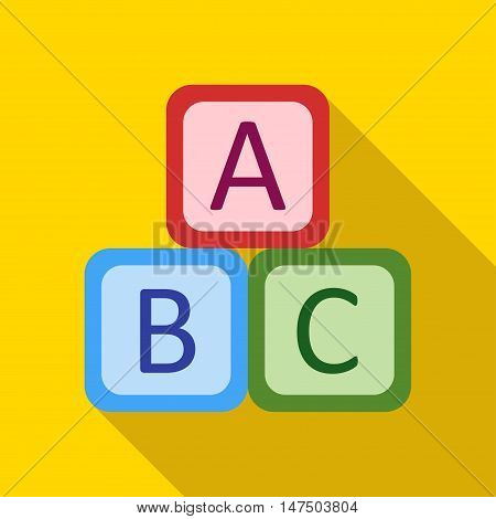 Children's toy cubes with letters on a yellow background. Picture style flat
