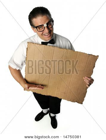 Portrait of man dressed as nerd holding blank cardboard isolated over white