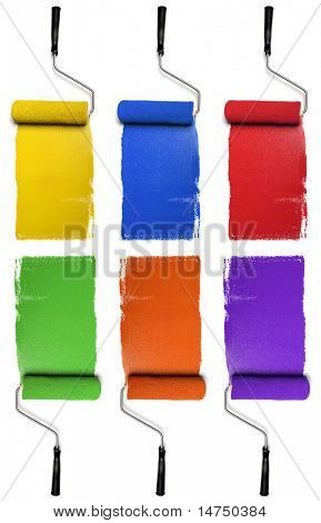 Paint Rollers with primary and secondary colors isolated over white background