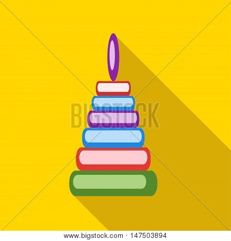 Children's toy pyramid on a yellow background. Picture style flat