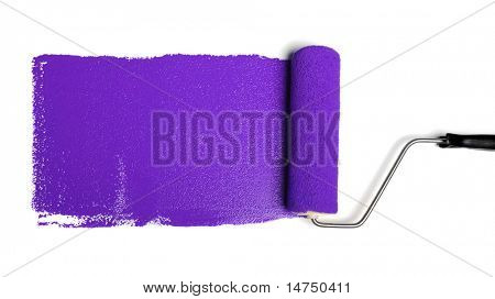 Paint roller leaving stroke of purple paint over a white background