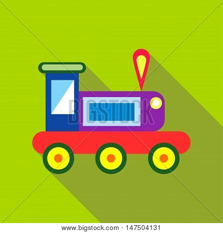 Children's toy train on a bright green background. Picture style flat