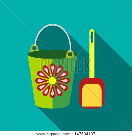 Children's toy pail with shovel in blue-green background. Picture style flat