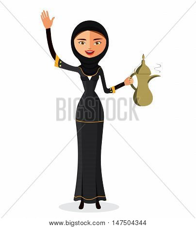 he beautiful Muslim woman in a hijab and waving her hand isolate on white background. Arab girl dressed in traditional costume.