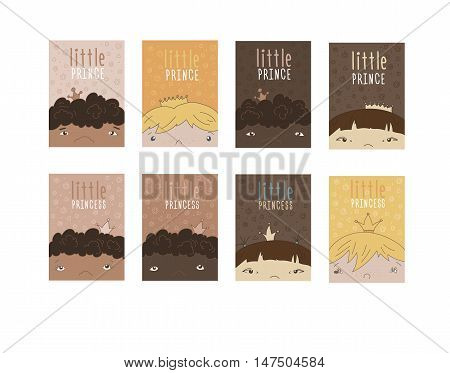 Set Of Color Vector Greetings Cards, Covers, Layouts With Hand Drawn Multiethnical Children