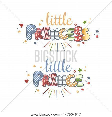 Cute Vector Lettering Little Princess And Little Prince Isolated On White