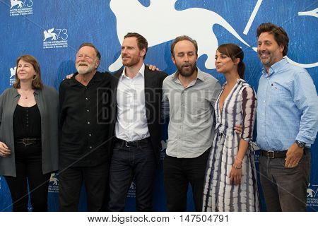 Jack Thompson, Michael Fassbender, Derek Cianfrance and Alicia Vikander attend at the photocall for The Light Between Oceans at the 2016 Venice Film Festival. September 1, 2016  Venice, Italy